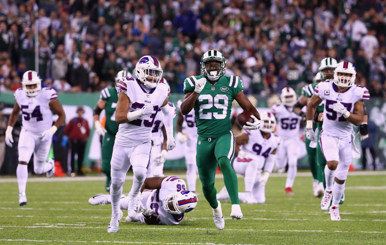 Running back Bilal Powell of the New York Jets runs the ball against strong safety Micah Hyde of the Buffalo Bills during the third quarter of the game at MetLife Stadium on Nov. 2, 2017, in East Rutherford, N.J. (Al Bello/Getty Images)