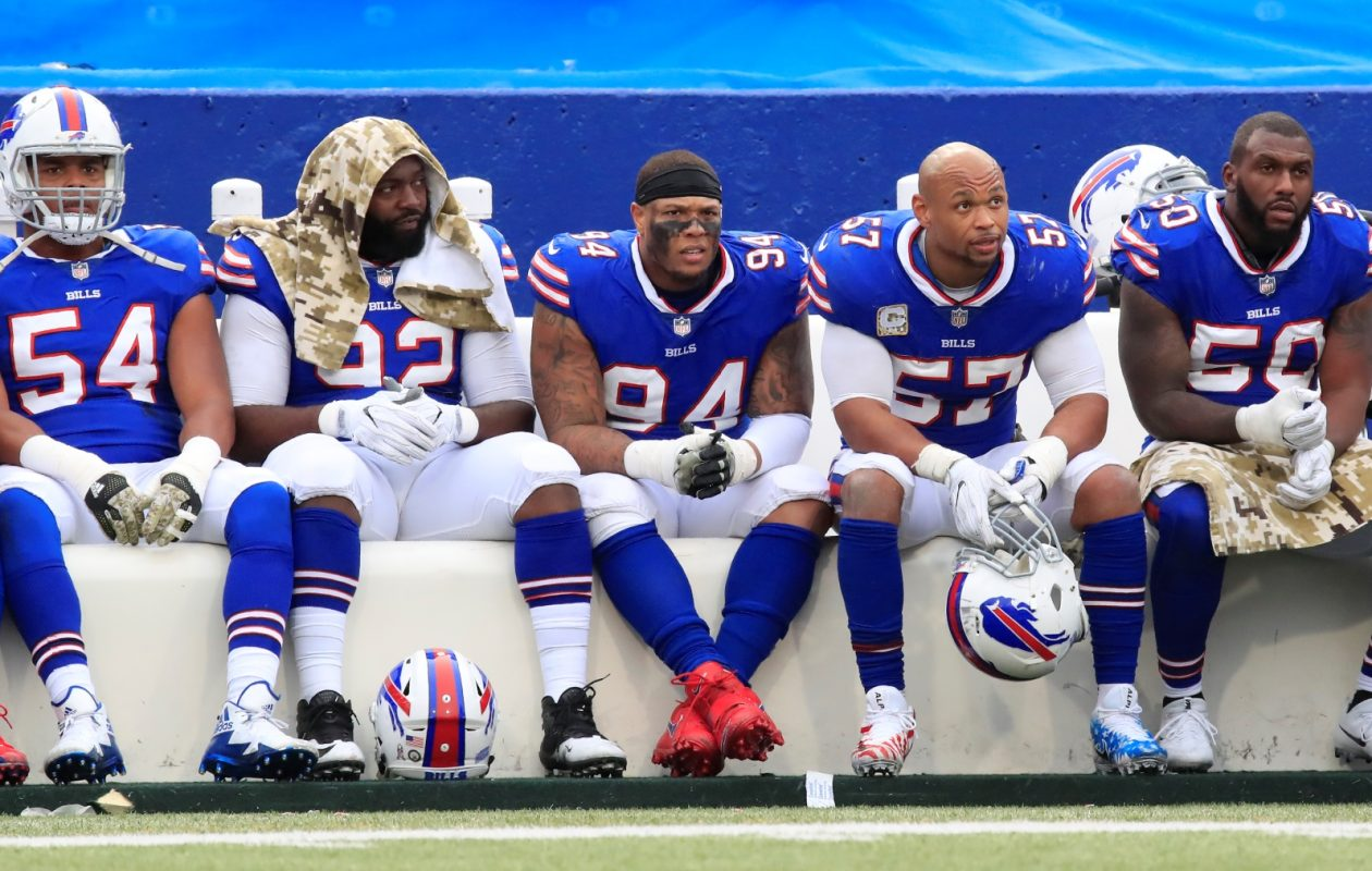 Buffalo Bills defensive players sit on the bench and watch the New Orleans Saints during the third quarter. (Harry Scull Jr./Buffalo News)