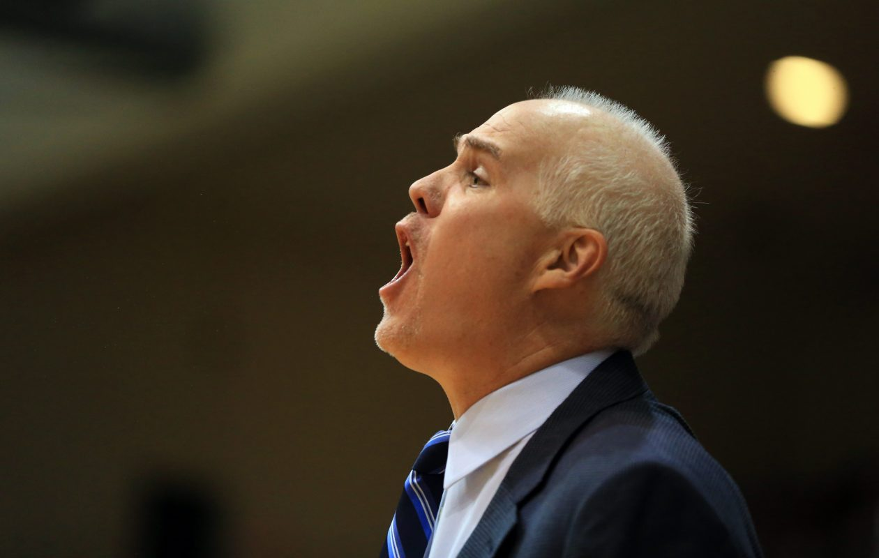 St. Bonaventure coach Mark Schmidt calls out a play during second half action against Massachusetts during Atlantic 10 Conference play at the Reilly Center on Wednesday, Feb. 11, 2015.(Harry Scull Jr./Buffalo News)