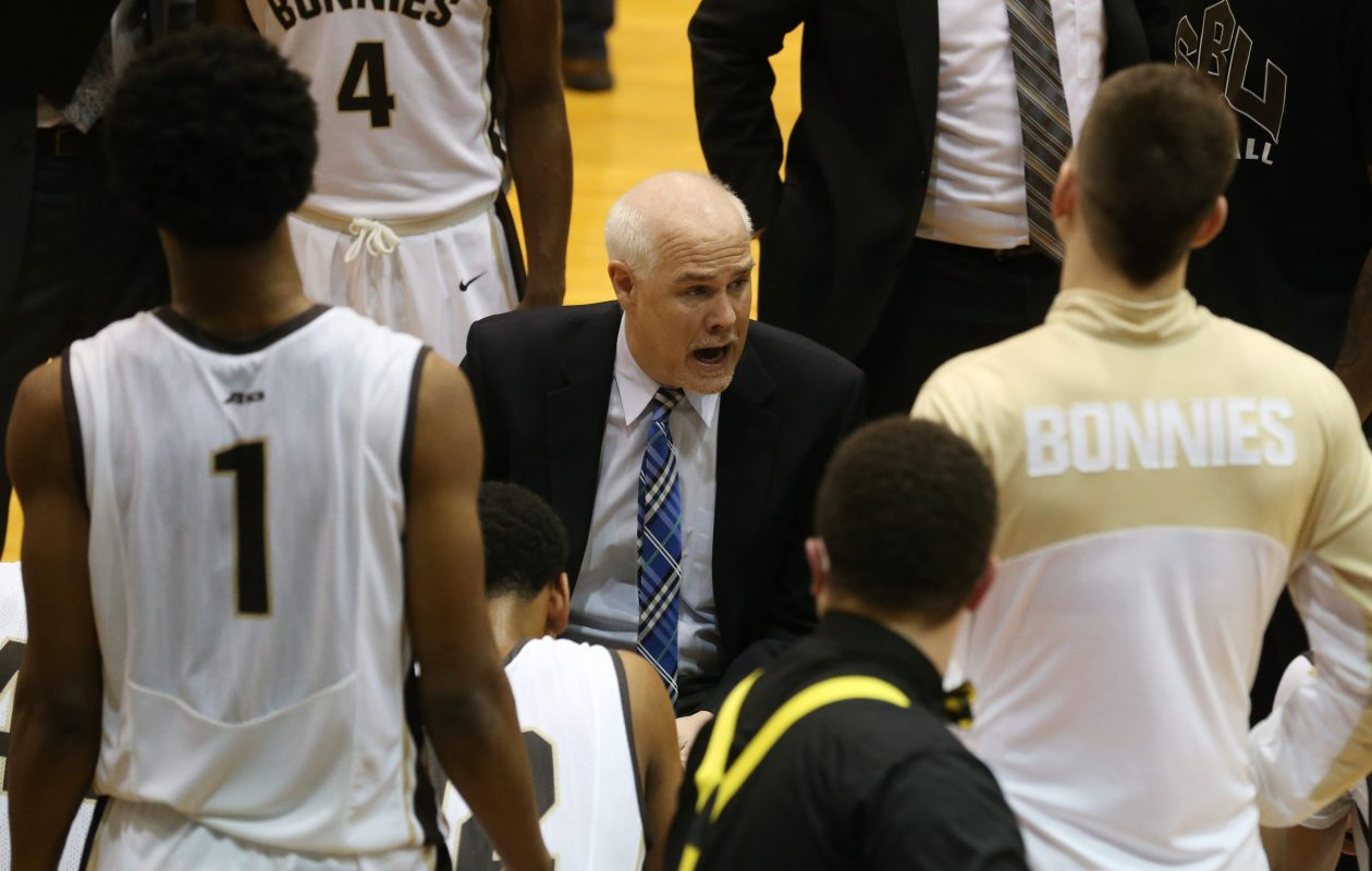 St. Bonaventure and head coach Mark Schmidt open up their men's basketball season against Big 4 rival Niagara on Friday night. (Sharon Cantillon/Buffalo News)