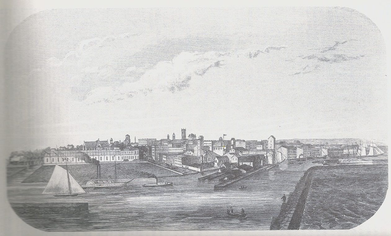 "A drawing of the Buffalo harbor, from the point of view of the lighthouse, from the 1860 ""Historical and Statistical Gazetteer of New York State."""