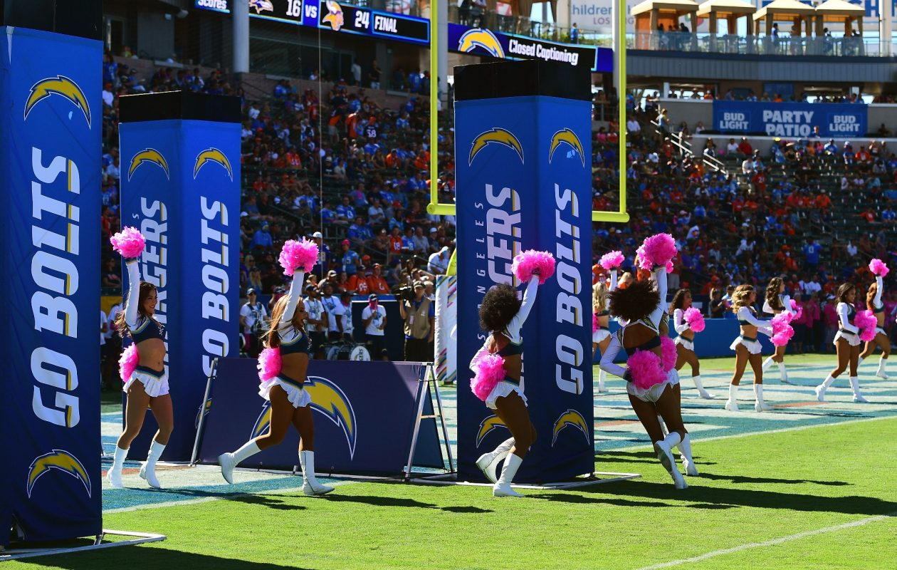 The Charger Girls take the field at the StubHub Center on Oct. 22, 2017, in Carson, Calif. (Harry How/Getty Images)