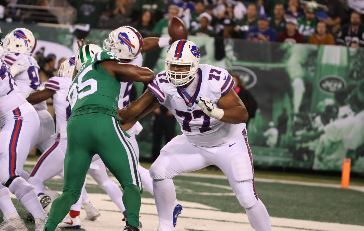 Glenn has surrendered two or fewer quarterback pressures in 51 of his 77 career games, meaning two-thirds of the time, the Bills have been able to count on him for that type of quality production.  (James P. McCoy/Buffalo News)