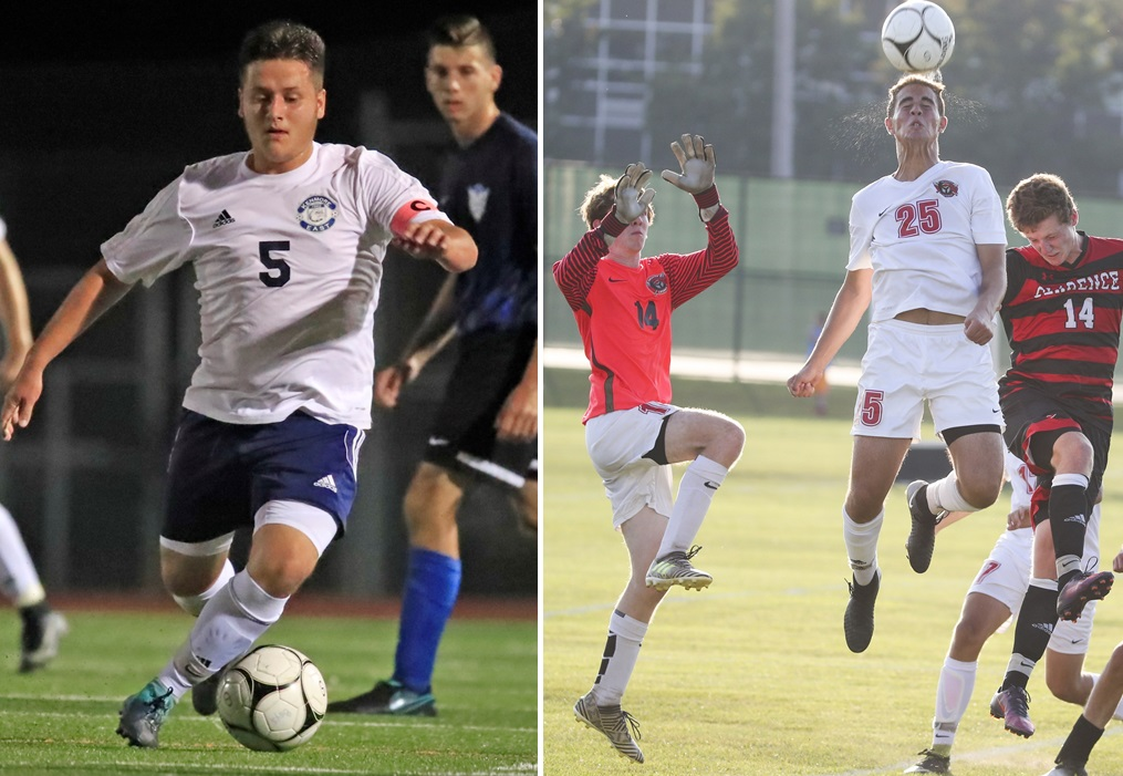 Kenmore East's Dylan Cunningham, left, and Lancaster's Zach Foley, heading the ball, were both chosen to participate in the Exceptional Seniors Boys Soccer Game. (News file photos)