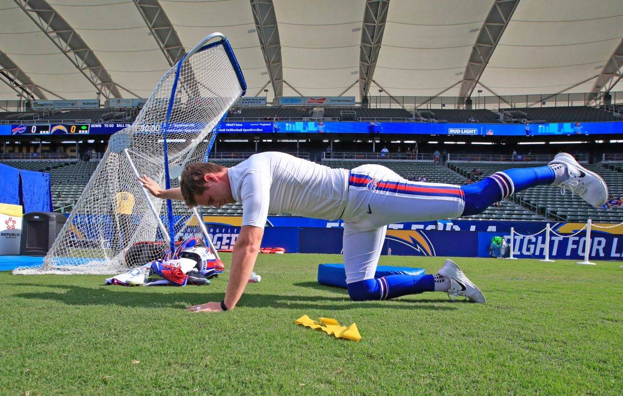 Buffalo Bills kicker Stephen Hauschka stretches during pregame prior to playing the Los Angeles Chargers. (Harry Scull Jr./Buffalo News)