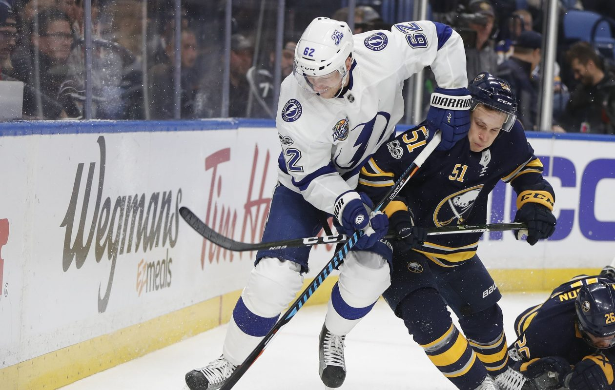 Tampa Bay's Andrej Sustr (6-foot-7) uses his size to his advantage against Buffalo's Kyle Criscuolo (5-foot-8) on Tuesday. (Mark Mulville/Buffalo News)