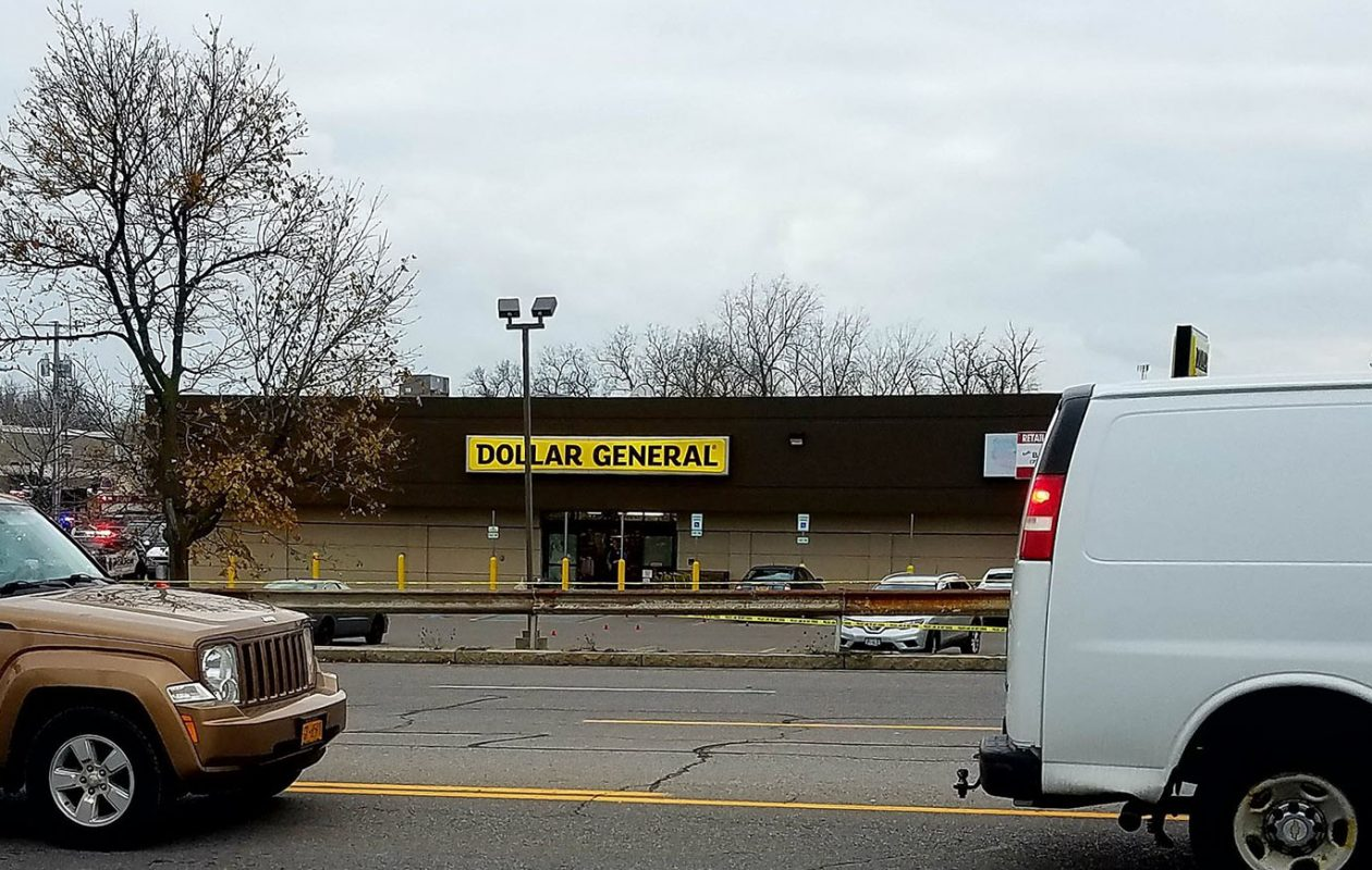 Cheektowaga police are on the scene of a shooting at Dollar General store on Union Road near French Road. (Harold McNeil/Buffalo News)