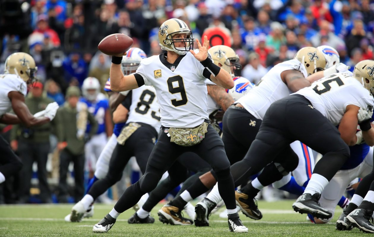 New Orleans Saints quarterback Drew Brees throws against the Buffalo Bills. (Harry Scull Jr./ Buffalo News)