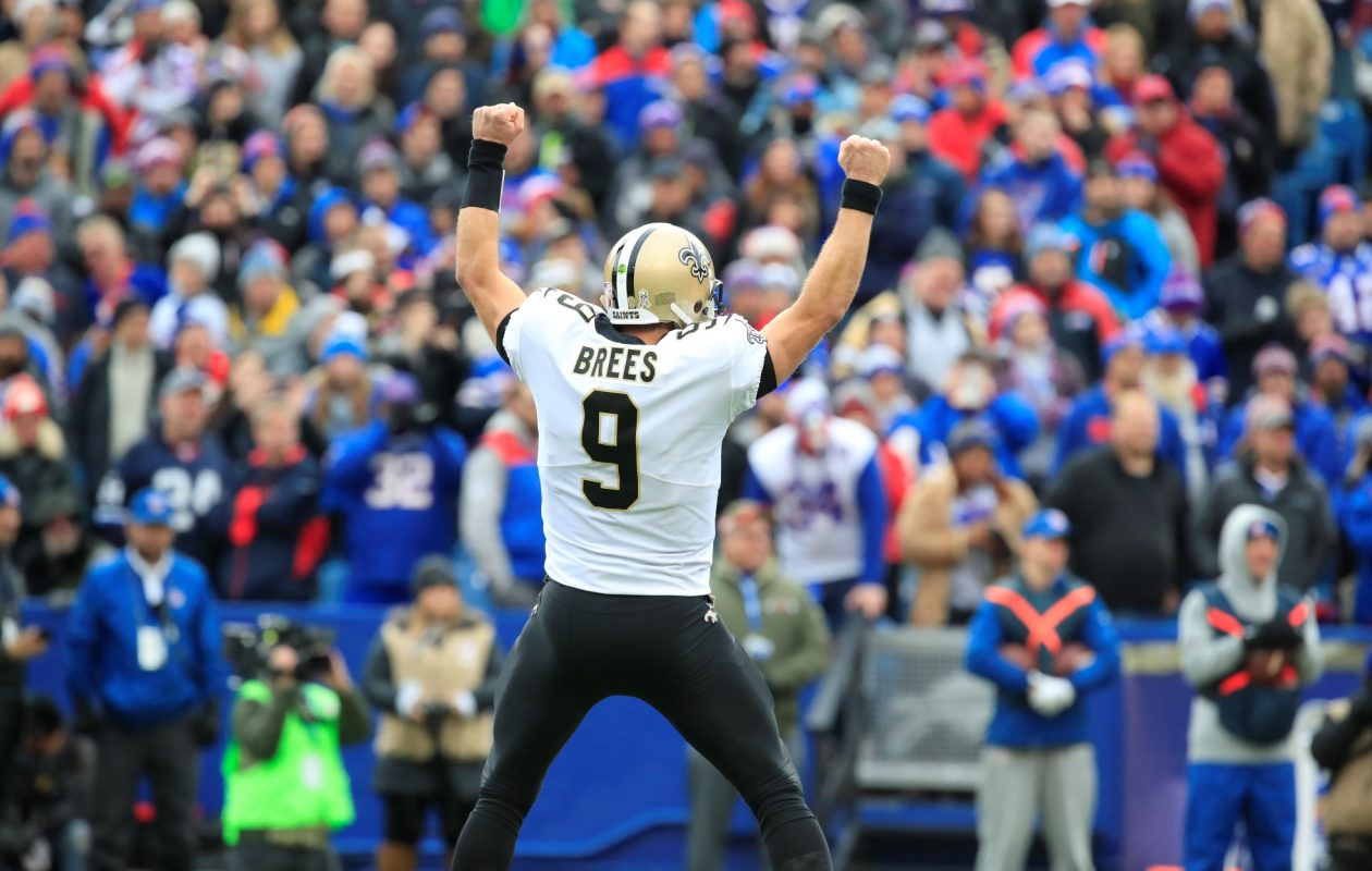 New Orleans Saints quarterback Drew Brees celebrates a touchdown against the Buffalo Bills during first quarter action at New Era Field on Sunday, Nov. 12, 2017.  (Harry Scull Jr./ Buffalo News)
