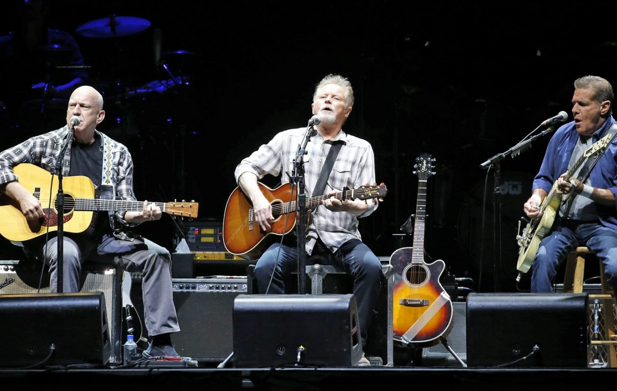 The Eagles, from left, Bernie Leadon, Don Henley, Glenn Frey perform at the First Niagara Center on July 18, 2015. (Harry Scull Jr./Buffalo News)
