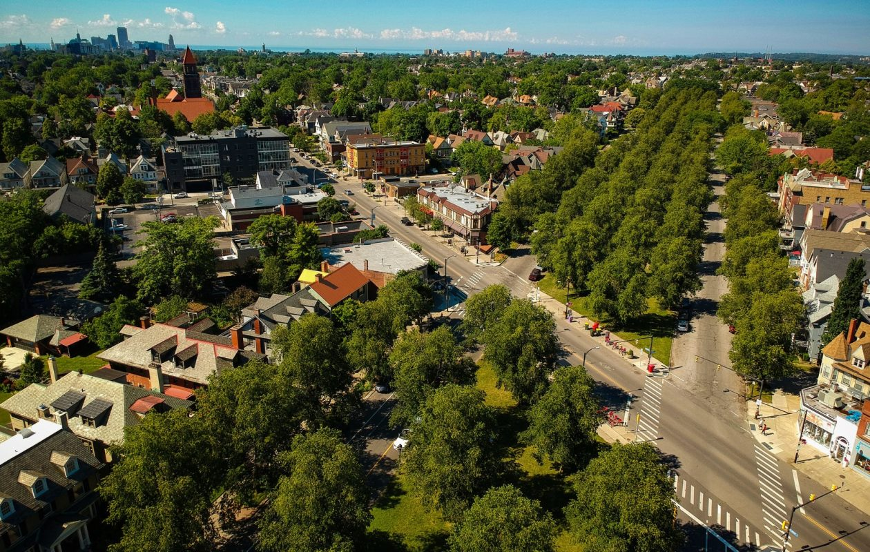 News file photo, taken by drone, of the intersection of Bidwell Parkway and Elmwood Avenue in the heart of the Elmwood Village. (Derek Gee/Buffalo News)