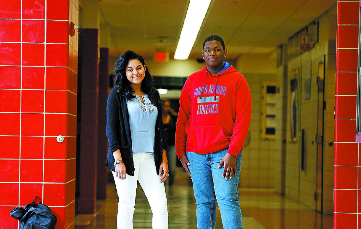 Niagara Falls High School students Mia Maye and Adam Hamilton, members of the Niagara Falls Youth City Council, have lobbied for a better sex education curriculum. (Mark Mulville/Buffalo News)