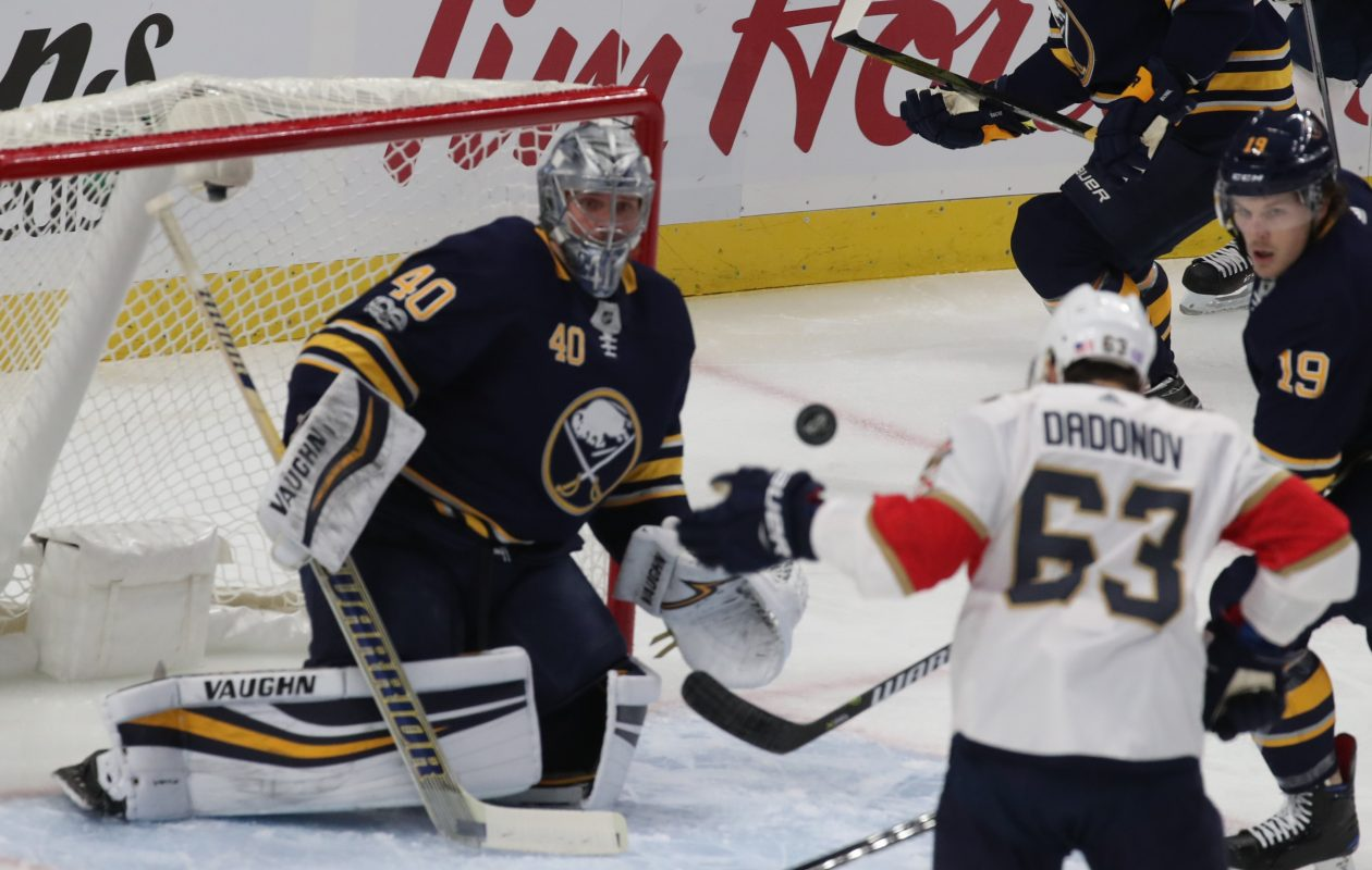 Buffalo Sabres goalie Robin Lehner (40) makes a save from a shot by Florida Panthers right wing Evgenii Dadonov (63) in the first period at Key Bank Center in Buffalo,N.Y. on Friday, Nov. 10, 2017.  (James P. McCoy / Buffalo News)