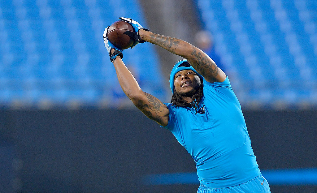 Kelvin Benjamin #13 of the Carolina Panthers catches a pass during warm ups before their game against the New Orleans Saints at Bank of America Stadium on November 17, 2016 in Charlotte, North Carolina.  (Photo by Grant Halverson/Getty Images)