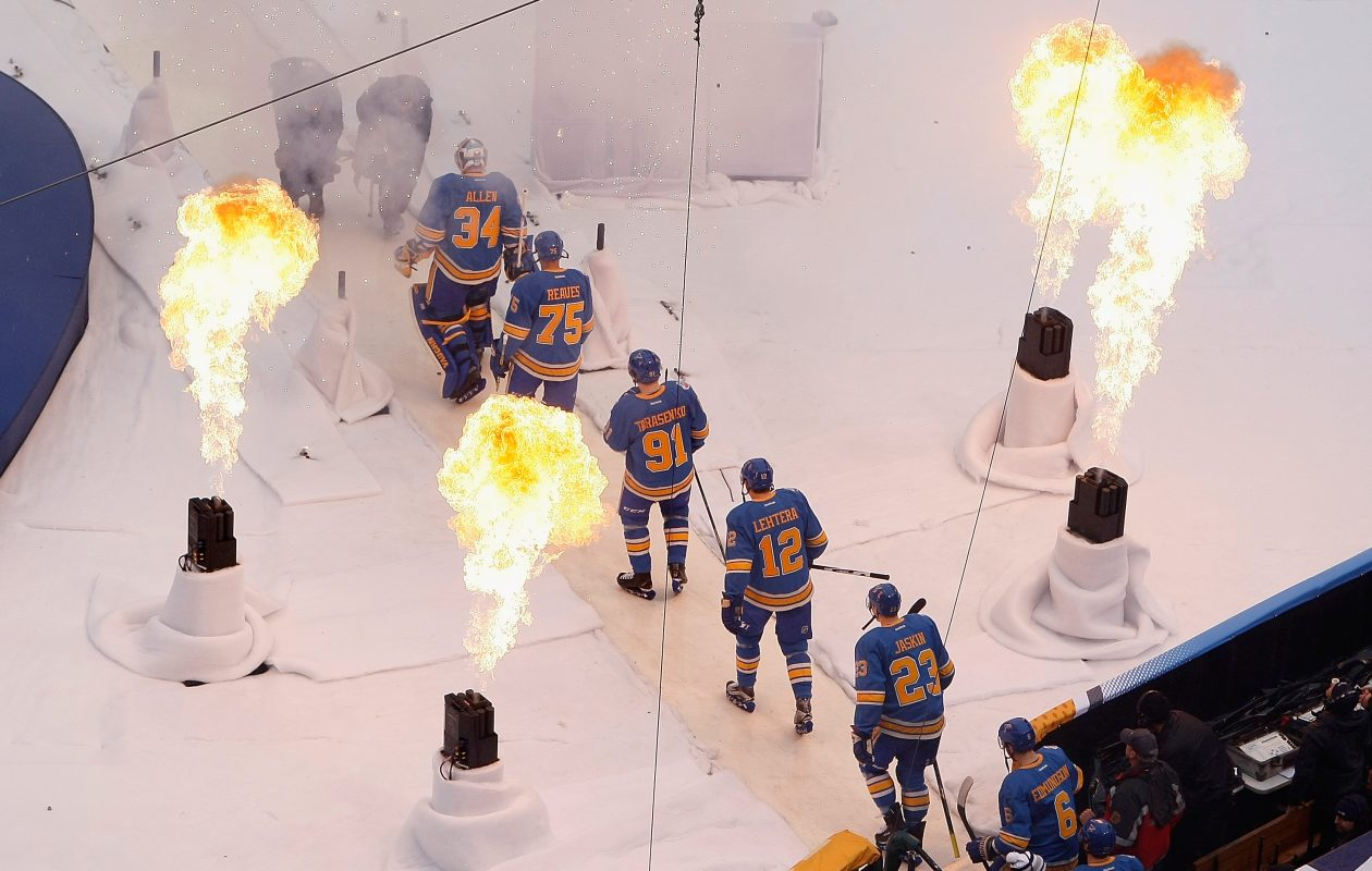 "The St. Louis Blues brought fire to ""Road to the Winter Classic"" as the host team last season, and those cameras will now focus on the Sabres. (Getty Images)"