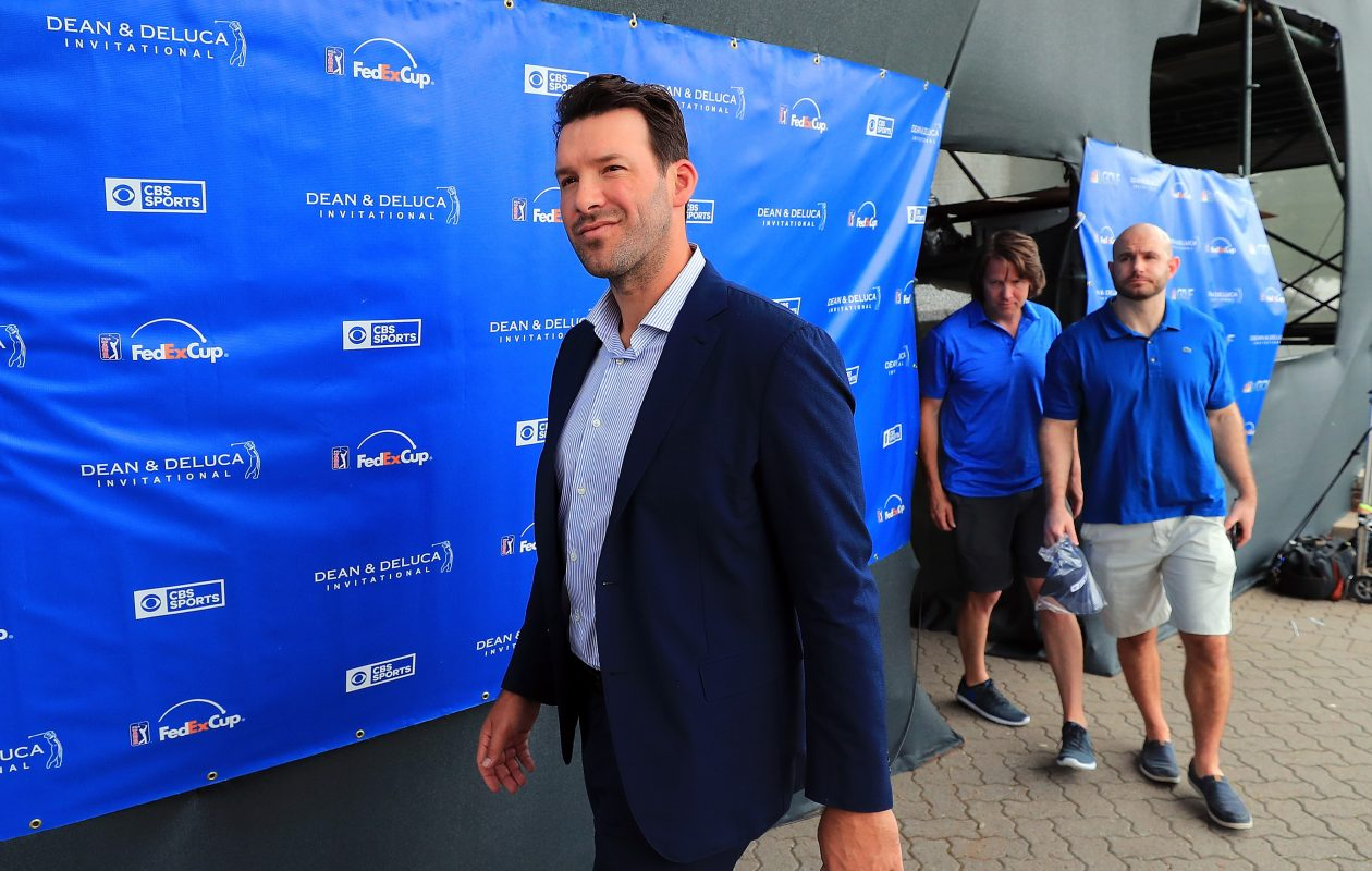 FORT WORTH, TX – MAY 27:  Former Dallas Cowboys quarterback and on-air talent Tony Romo exits the broadcast booth during Round three of the DEAN & DELUCA Invitational at Colonial Country Club on May 27, 2017 in Fort Worth, Texas.  (Photo by Tom Pennington/Getty Images)