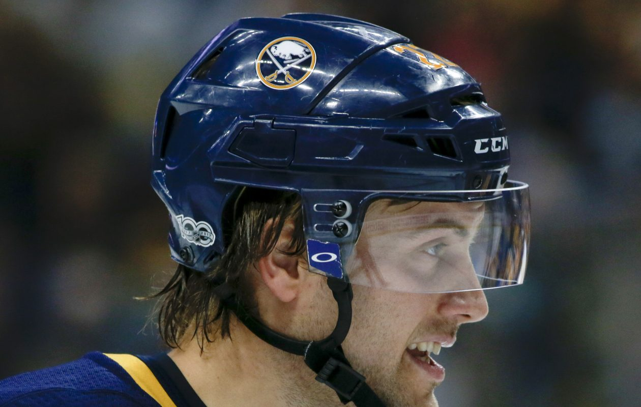 The Sabres' Johan Larsson had a tough sequence during the second period Saturday. (Getty Images)