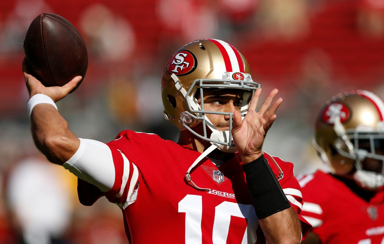 Jimmy Garoppolo of the San Francisco 49ers . (Getty Images)