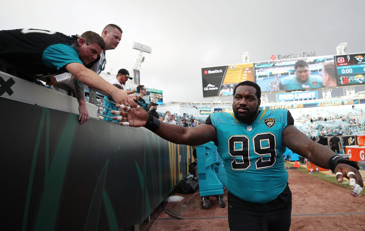 Marcell Dareus of the Jacksonville Jaguars greets fans after the Jaguars defeated the Cincinnati Bengals  (Logan Bowles/Getty Images)