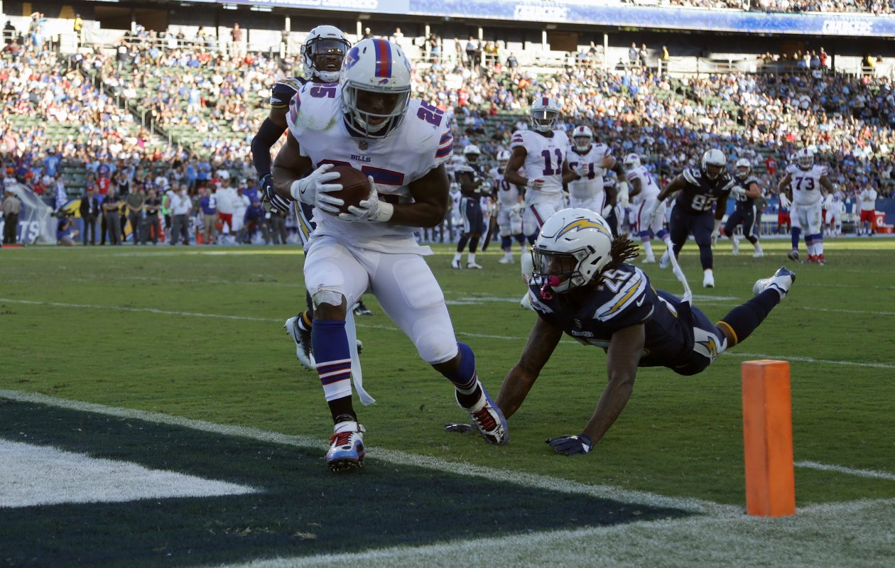 LeSean McCoy of the Buffalo Bills scores a touchdown during the second half against the Los Angeles Chargers. (Getty Images)