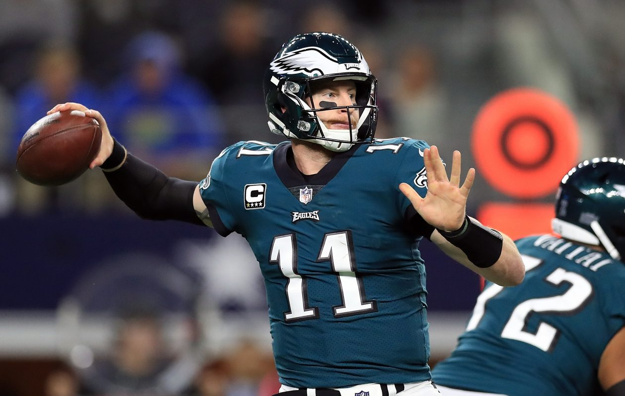 Philadelphia Eagles quarterback Carson Wentz  leads the NFL this season with 25 touchdown passes. (Getty Images)
