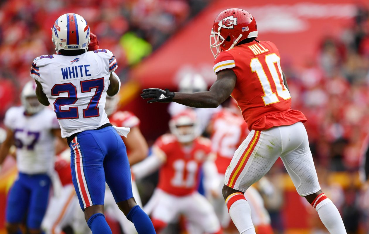 Bills cornerback Tre'Davious White makes the game-clinching interception Sunday against the Kansas City Chiefs. (Getty Images)