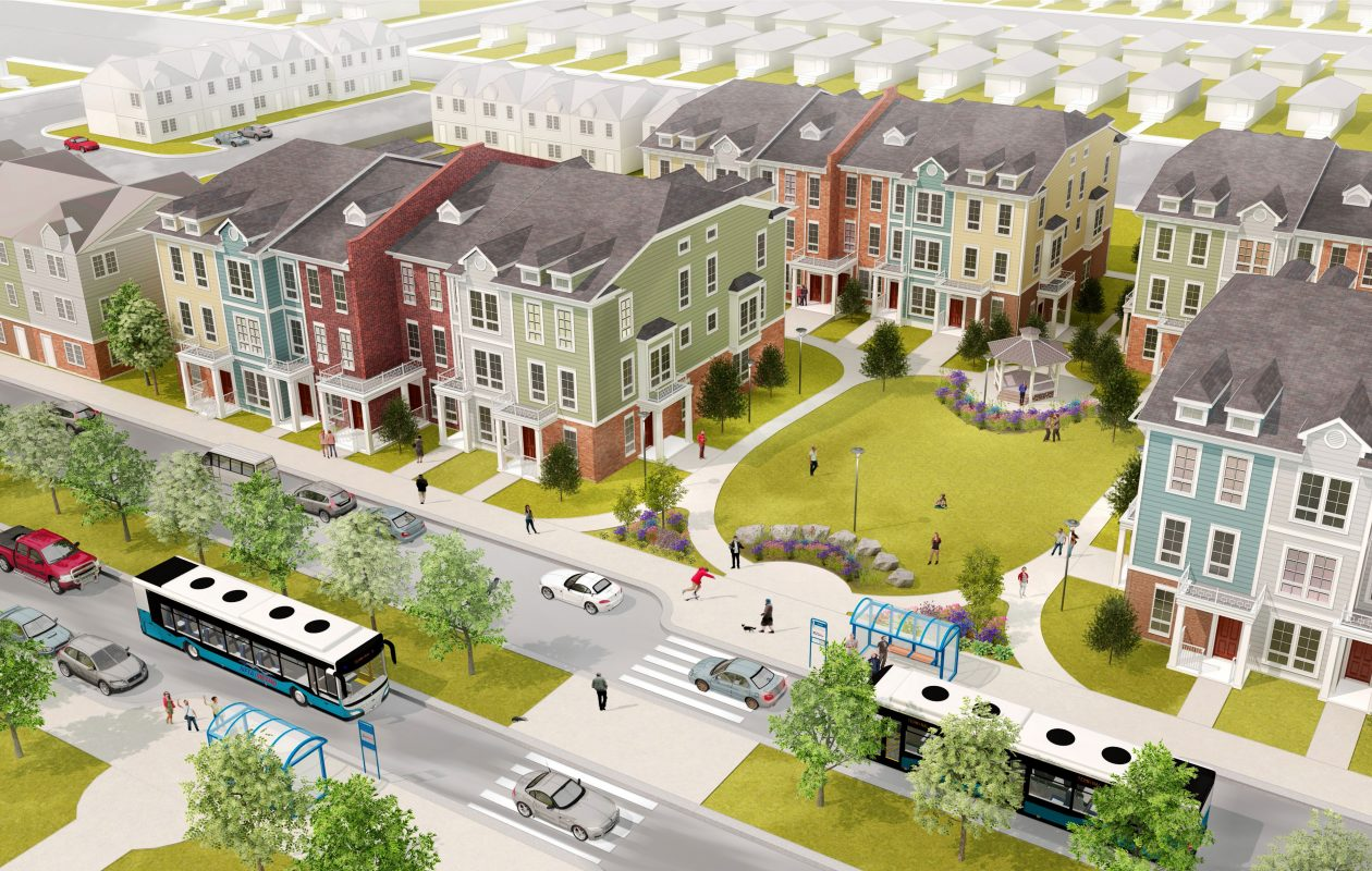 A rendering of the proposed Highland Park redevelopment project. (Courtesy LPCiminelli)