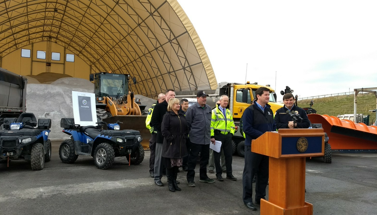 County Executive Mark Poloncarz at the Erie County's Harlem Road maintenance barn talking about winter preparedness efforts. The Harlem Road barn was rebuilt last year for $410,000 and is made of fabric that can be replaced in sections if it ever tears. The barn holds 2,500 tons of salt.