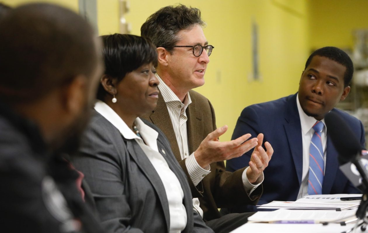 Sam Magavern, second from right, executive director of the Partnership for the Public Good, discusses the findings of a new study his group completed that shows a racial disparity in marijuana arrests during a panel discussion on legislation to legalize marijuana proposed by Assemblywoman Crystal Peoples-Stokes, second from left.