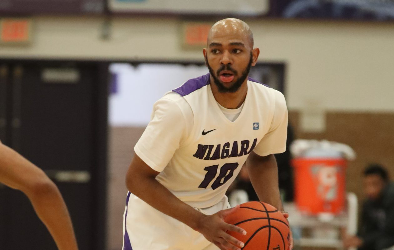 Kahlil Dukes led Niagara with 23 points in the Purple Eagles season-opening victory against St. Bonaventure. (Photo courtesy of Niagara athletics)