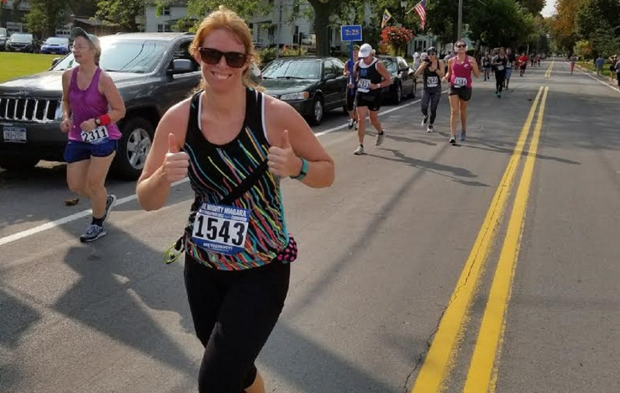 """I missed being in the classroom and I missed being able to put my sneakers on and my headphones in and just go,"" Jennifer Bardrof, 35, of West Seneca, said of her desire to return to running after a heart scare in May 2016."