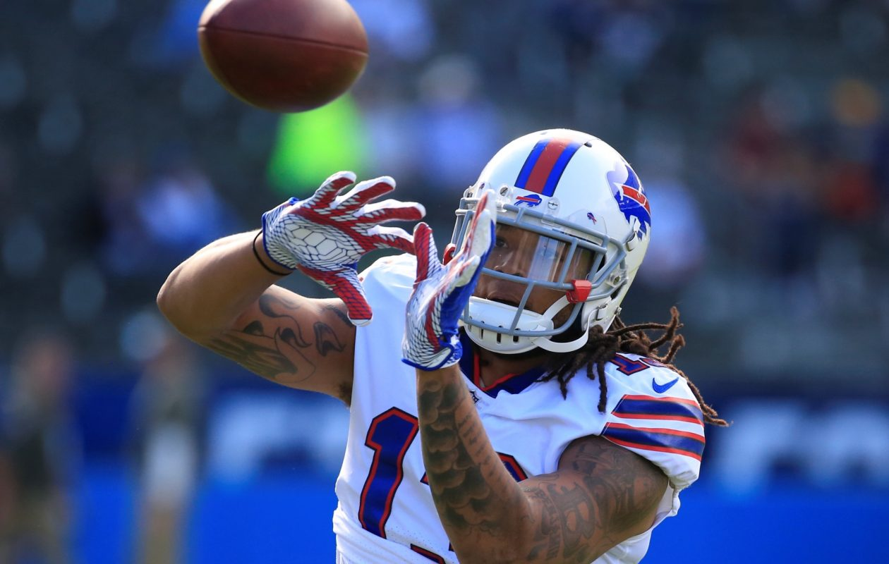 Buffalo Bills wide receiver Kelvin Benjamin warms up before playing the Los Angeles Chargers on Nov. 19, 2017. (Harry Scull Jr./ Buffalo News)