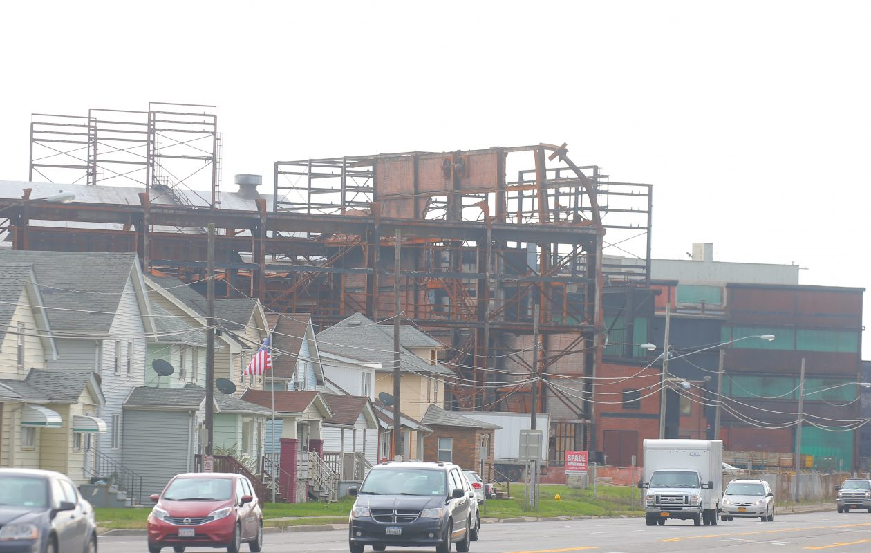 The former Bethlehem Steel mill complex on  Route 5 in Lackawanna,  N.Y., where a fire that began one year ago, on Nov. 9, 2016, destroyed a section of the building. A  partial steel and brick framework is all that remained Thursday, Nov. 9, 2017 of the building where the fire started.   (John Hickey/Buffalo News)