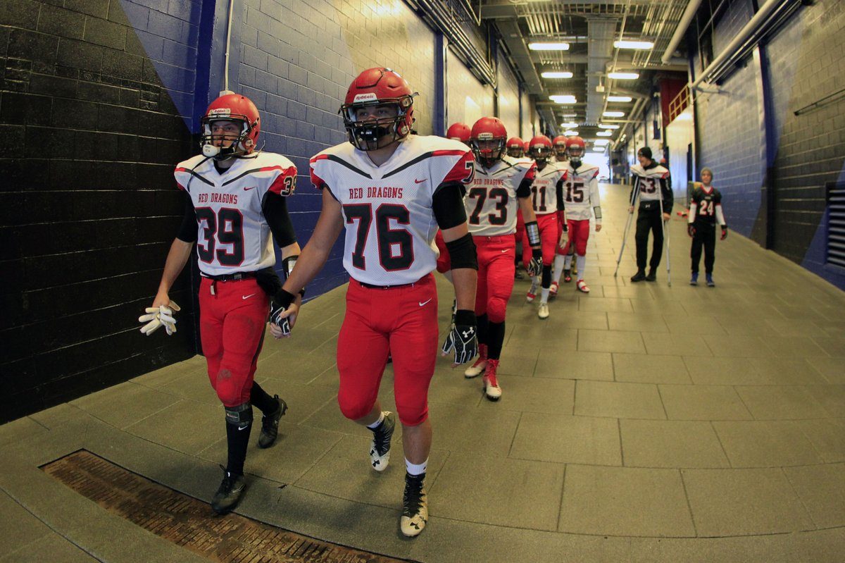 Focused Maple Grove players get set to take the field for the Section VI Class D final against Franklinville/Ellicottville on Friday at New Era Field. (Harry Scull Jr./Buffalo News)