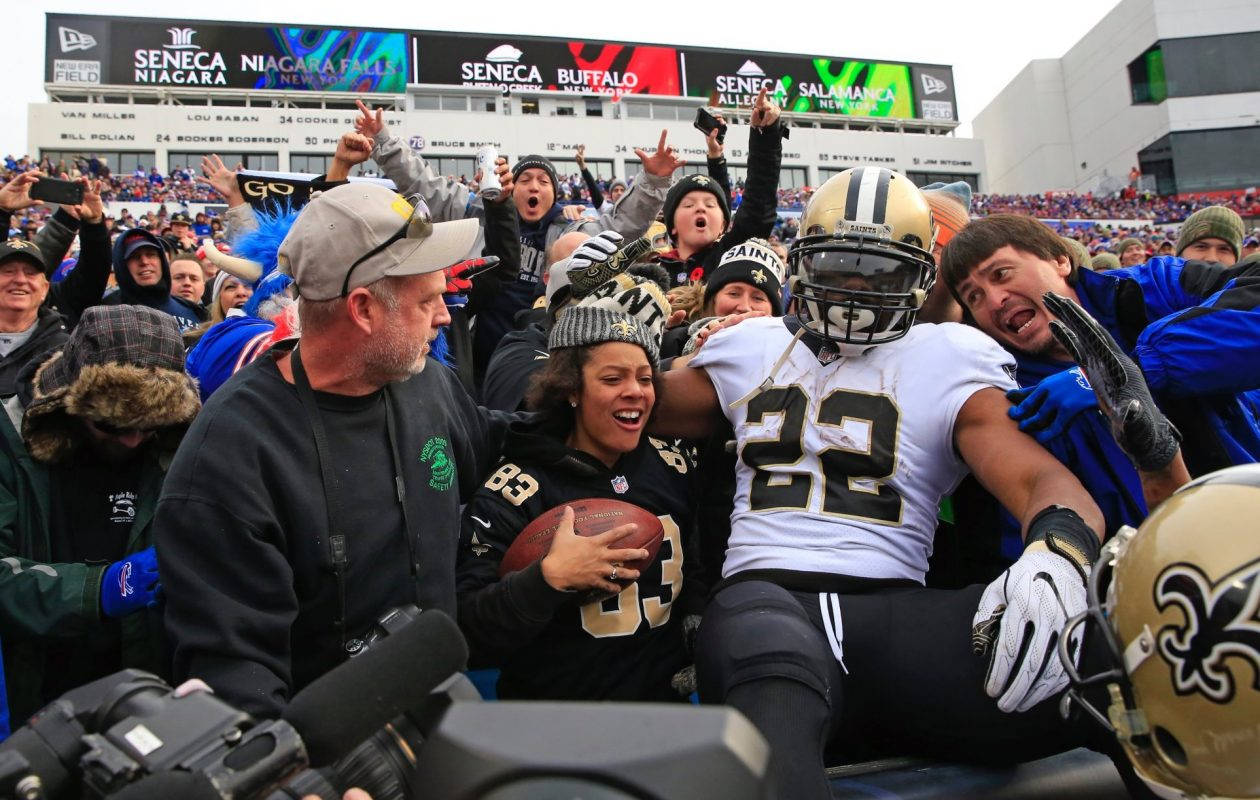 Saints running back Mark Ingram had plenty to celebrate during his team's 47-10 demolition of the Buffalo Bills on Sunday. (Harry Scull Jr./Buffalo News)