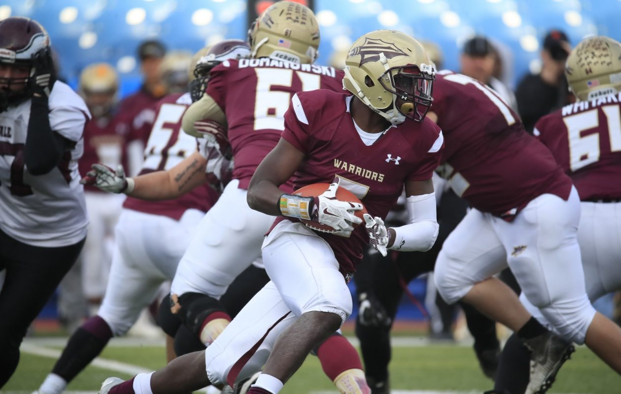 Cheektowaga running back Jaquan Bush runs against Maryvale Saturday during the second half of the Section VI Class B Championships at New Era Field. (Harry Scull Jr./ Buffalo News)