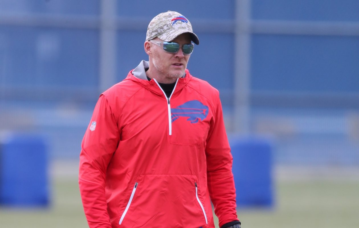 Bills coach Sean McDermott is seen on the practice field on Wednesday, Nov. 15, 2017. (James P. McCoy / Buffalo News)
