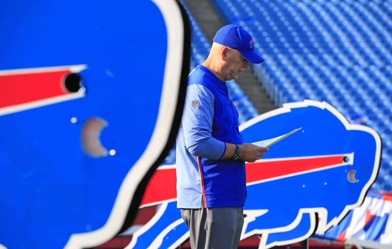 Buffalo Bills defensive line coach Mike Waufle reads over some notes before kick off agains the New York Jets at New Era Field on Sunday, Sept. 10, 2017.(Harry Scull Jr./The Buffalo News)