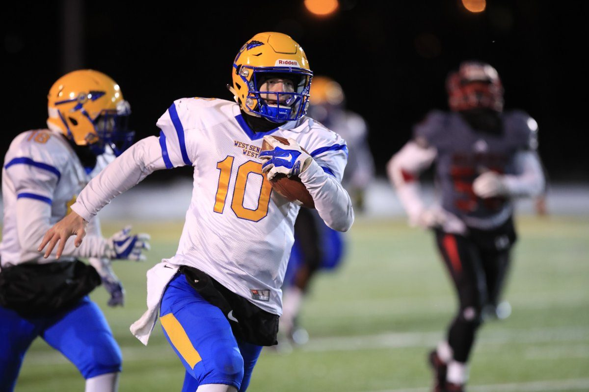 West Seneca West's Matt Myers made plays with his legs and arm in helping the Indians reach the state semifinals. (Harry Scull Jr./Buffalo News)