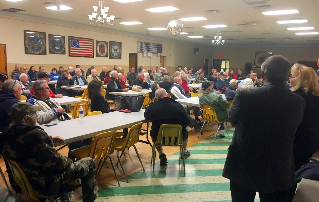 The crowd at a Nov. 1, 2017, meeting in the Sikora American Legion Post, North Tonawanda, on pistol permit recertification. (Courtesy Niagara County Public Information Office)
