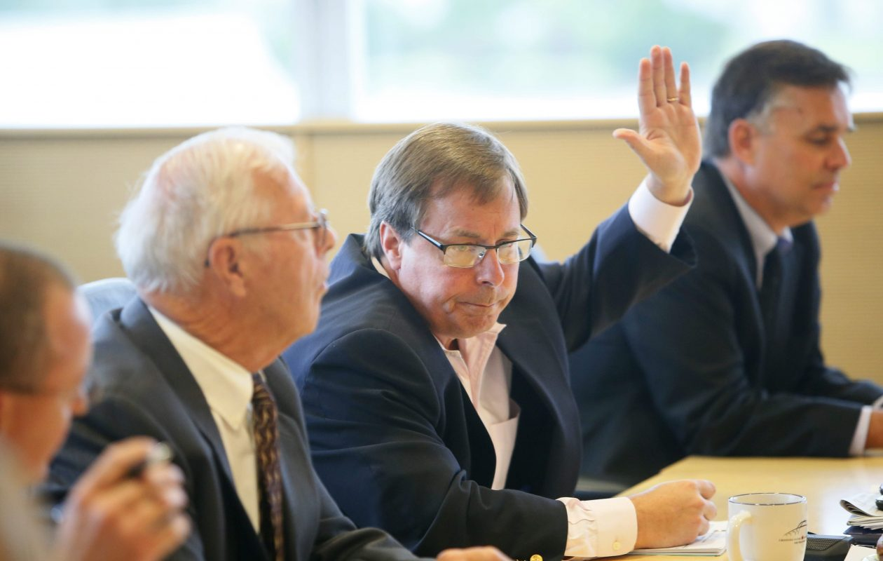 Sam Hoyt, center, is the target of a lawsuit claiming sexual harassment. (Derek Gee/Buffalo News)