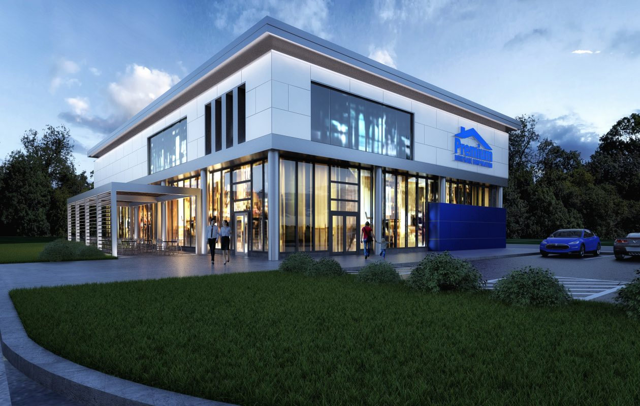 This rendering shows what the new Premium Mortgage offices at 4401 Transit Road in Clarence will look like after the company's planned renovations. (Image courtesy Premium Mortgage.)