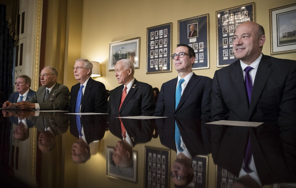 From left: Sen. Johnny Isakson (R-Ga.), Sen. Charles Grassley (R-Iowa), Senate Majority Leader Mitch McConnell (R-Ky.), Senate Finance Committee Chairman Orrin Hatch (R-Utah), Treasury Secretary Steven Mnuchin and chief White House economic adviser Gary Cohn before a meeting on tax reform legislation on Capitol Hill in Washington, Nov. 9, 2017. (Tom Brenner/The New York Times)