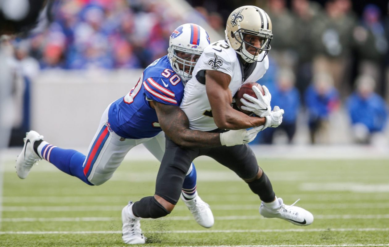 Lnebacker Ramon Humber missed three tackles against New Orleans on Sunday. He's currently second on the team with 10 missed tackles. (Derek Gee/Buffalo News)