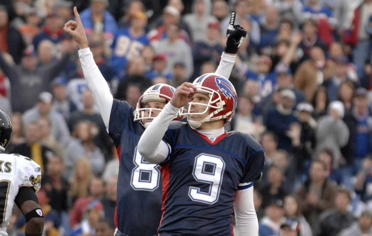 Buffalo Bills holder Brian Moorman celebrates after Rian Lindell hit the winning field goal against  Jacksonville Jaguars on Nov. 26, 2006, at Rich Stadium in Orchard Park  (John Hickey/News file photo)