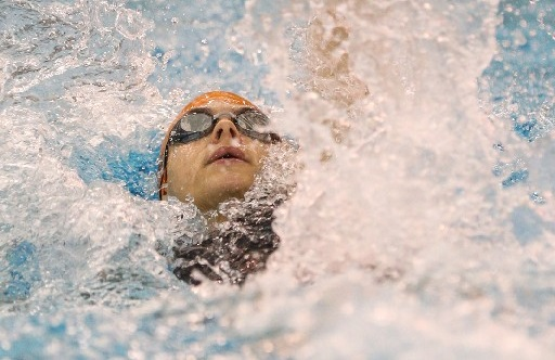 Fredonia's Riley Drummond placed second 2nd with a time of 55.48 in the girls 100-yard backstroke at the  NYSPHSAA Swimming & Diving Championships at Ithaca College. (Nick Serrata/Special to The News)
