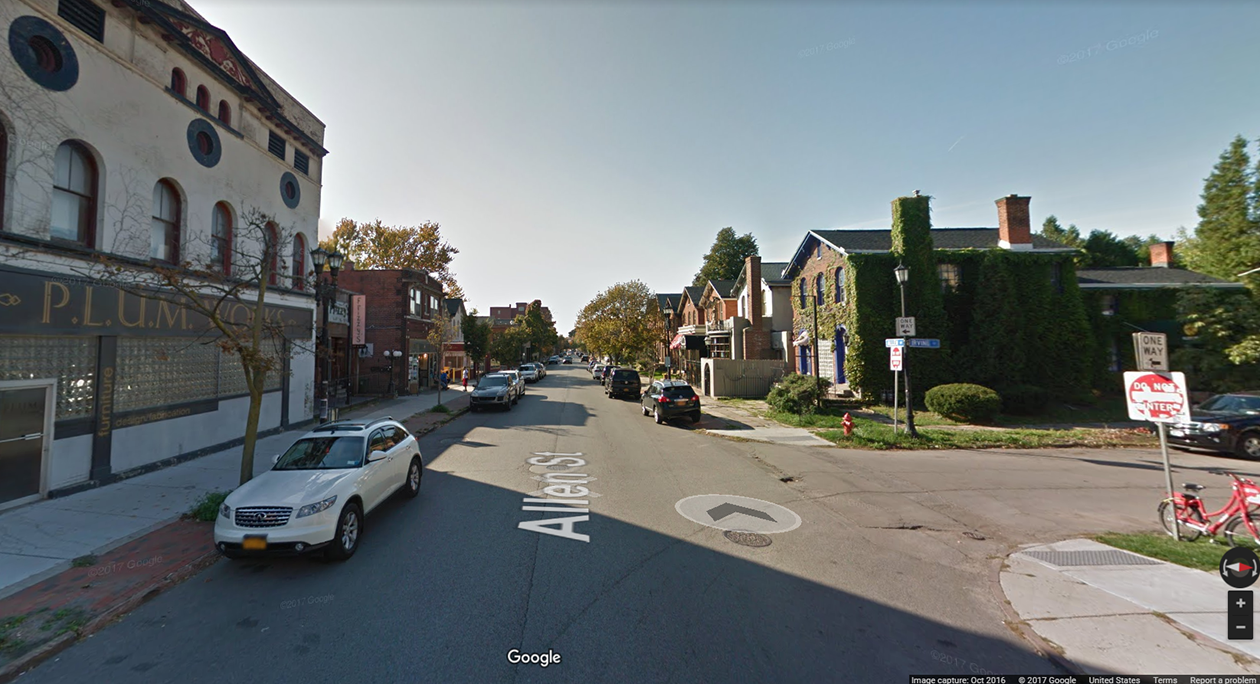 The stretch of Allen Street where a 37-year-old man was shot very early Friday morning. He later died of his injuries. (Google Maps)