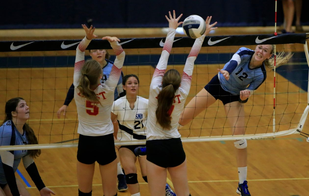 Monsignor Martin Association MVP Summer Slade, far right, leads St. Mary's of Lancaster into the state Catholic girls volleyball tournament on Saturday. (Harry Scull Jr./Buffalo News)