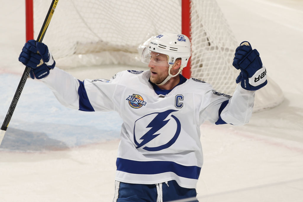 Steven Stamkos hit the weekend leading the NHL in scoring with 24 points in 14 games for the Lightning (Getty Images).