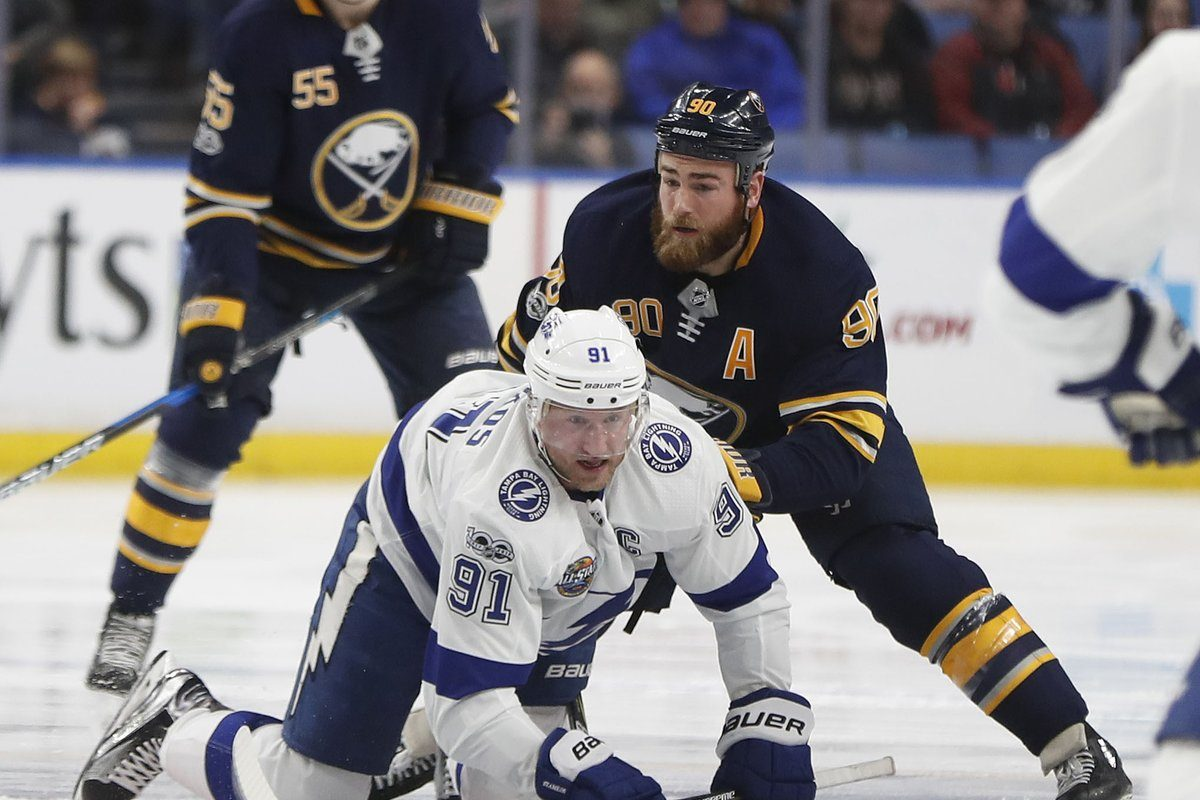 Tampa Bay's Steven Stamkos works against Ryan O'Reilly in the first period. (Mark Mulville/Buffalo News)